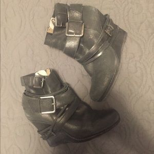 DKNY Belted Ankle Wedge Bootie